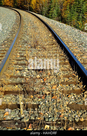 A vertical image of a rail line rounding a curve on a rural stretch of track in Alberta Canada. - Stock Photo