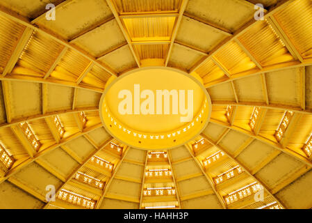 psar thmei old art deco style central market interior dome roof detail cooling vents in phnom penh  cambodia - Stock Photo