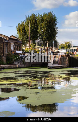 St. Pancras Lock on Regent's Canal, prior to the redevelopment of King's Cross, London, UK, 2015 - Stock Photo