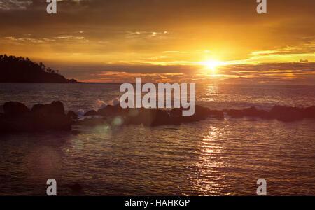 Ocean sunset panorama. Mirissa, Sri Lanka - Stock Photo