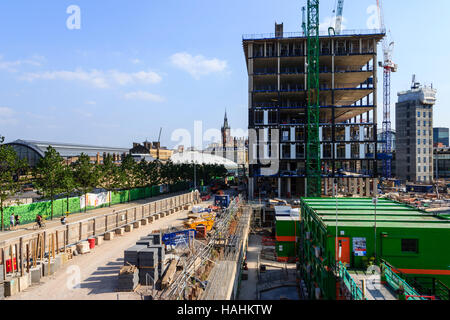 Building work start in the redevelopment of King's Cross, London, UK, July 2013 - Stock Photo