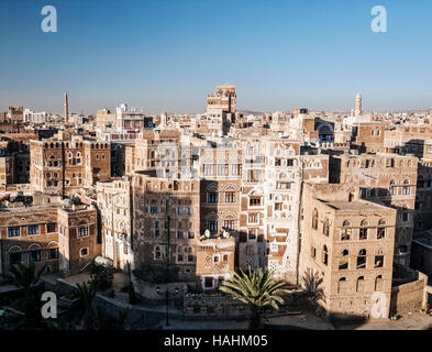 view of central sanaa  city old town skyline traditional buildings in yemen - Stock Photo