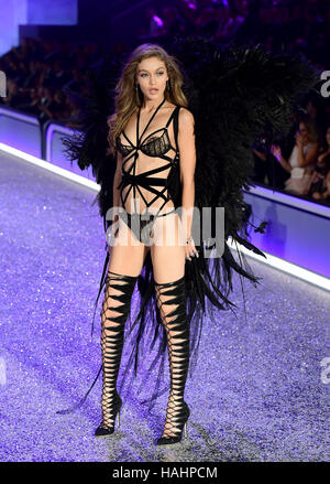 Gigi Hadid during the Victoria's Secret fashion show, held at The Grand Palais in Paris, France. - Stock Photo