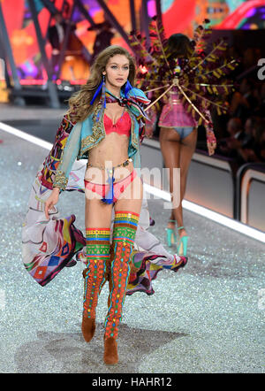 Gigi Hadid during the Victoria's Secret fashion show, held at The Grand Palais in Paris, France. PRESS ASSOCIATION - Stock Photo