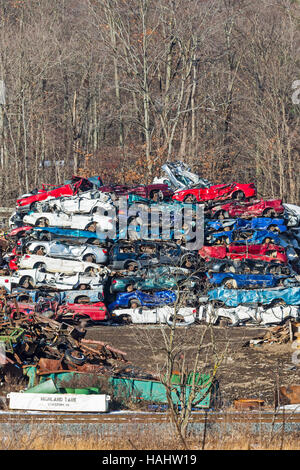 Stoystown, Pennsylvania - Junked cars at an auto salvage yard. - Stock Photo