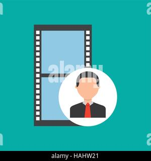 Man Silhouette And Film Strip Vector Illustration On White Stock ...