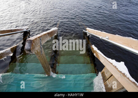 swimming pool at winter, Finland - Stock Photo