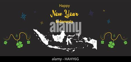 Happy New Year illustration theme with map of Indonesia - Stock Photo