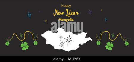 Happy New Year illustration theme with map of Mongolia - Stock Photo