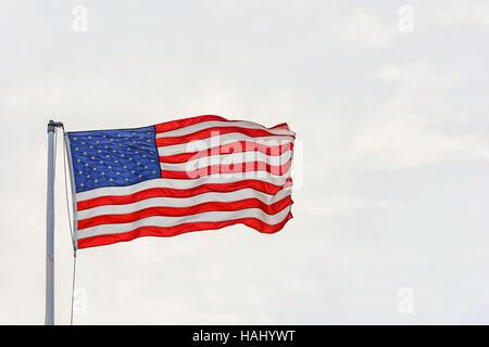United States Flag, St. Andrews Marina, Panama City, Florida. Gulf of Mexico - Stock Photo