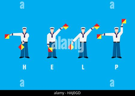 Flat design sailors waving signal flags, spelling word help with flag semaphore system - Stock Photo