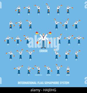 Vector illustration of sailors performing international flag semaphore alphabetic system. All objects grouped, named - Stock Photo