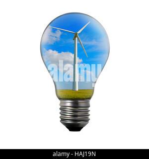 Alternative energy concept. Light bulb with wind mill generator inside. - Stock Photo