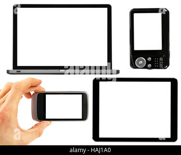 set of electronic gadgets with blank screens - Stock Photo