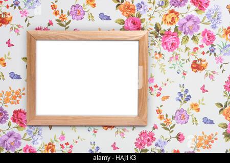 wood frame on vintage floral background - Stock Photo