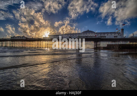 Sunlit Brighton Pier - Stock Photo