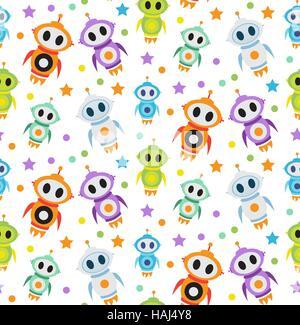 Cute kids seamless pattern robot rocket. Children endless background, texture, wallpaper. Vector illustration. - Stock Photo