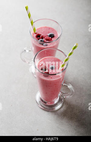Two berries smoothie, food closeup - Stock Photo