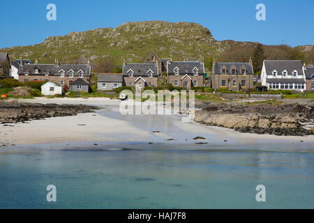 Island village on Iona Scotland uk Inner Hebrides off the Isle of Mull west coast of Scotland with houses - Stock Photo