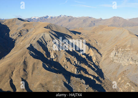 MINERAL WORLD OF THE MERCANTOUR NATIONAL PARK (aerial view). Vignos, Alpes-Maritimes, France. - Stock Photo