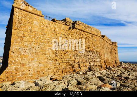 Paphos castle from the sea, Cyprus - Stock Photo