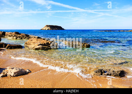 Beach at Agios Georgios with Geronisos island, Paphos.Cyprus - Stock Photo