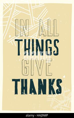 Poster. In all things give thanks - Stock Photo