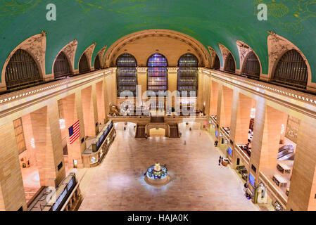 NEW YORK CITY - OCTOBER 28, 2016: Aerial view of the concourse at historic Grand central Terminal. - Stock Photo