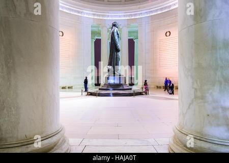 The bronze statue inside the Jefferson Memorial in Washington DC, USA.