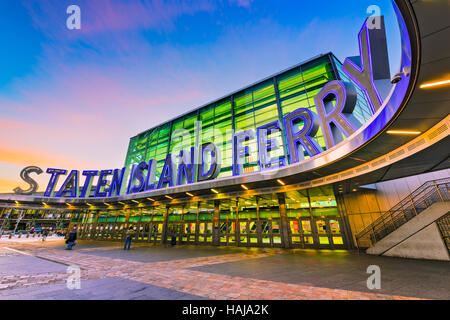 NEW YORK CITY - OCTOBER 29, 2016: The Staten Island Ferry terminal in Lower Manhattan. - Stock Photo