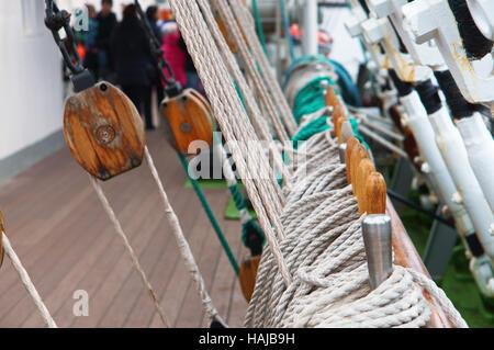 marine supplies, sailboat, rope, bollard, rope, rescue boat, mast - Stock Photo