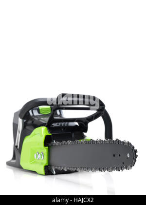 Electric Cordless battery powered chainsaw isolated on white background - Stock Photo