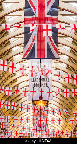 Leadenhall Market interior decorated with St George Flags - Stock Photo