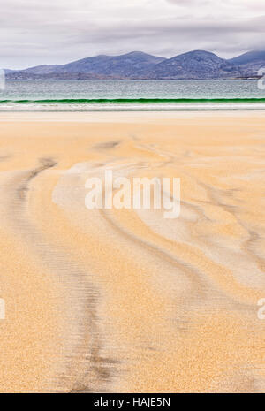 Sand patterns on Luskentyre (Losgaintir) beach, Harris, Hebrides, Scotland - Stock Photo