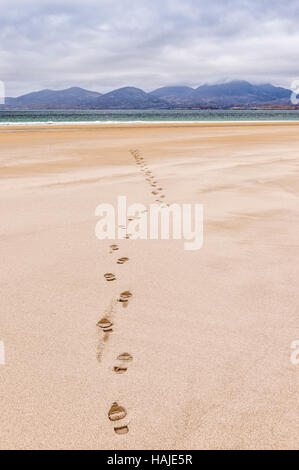 Footprints on Luskentyre (Losgaintir) beach, Hebrides, Scotland - Stock Photo