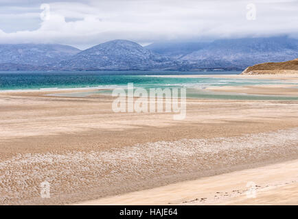 Seilebost beach at low tide, Harris, Hebrides, Scotland - Stock Photo