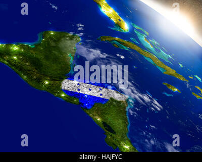 Honduras with embedded flag on planet surface during sunrise. 3D illustration with highly detailed realistic planet - Stock Photo