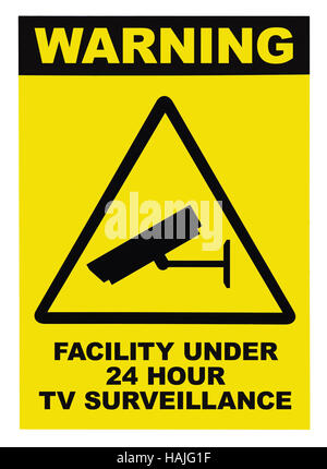 Facility protected, under 24 hour video surveillance text sign, black, yellow, isolated closeup - Stock Photo