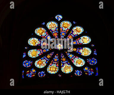 Stained Glass Rose Window in Saint Genevieve's Cathedral in Paris - Stock Photo