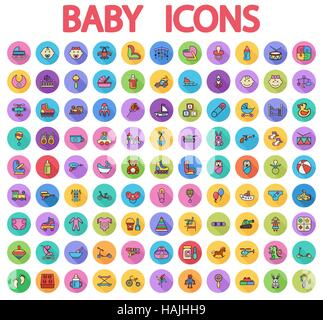 Baby icons set. Flat vector related icons set with long shadow for web and mobile applications. It can be used as - Stock Photo