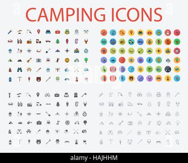 Camping icons set. Flat vector related icons with long shadow for web and mobile applications. It can be used as - Stock Photo