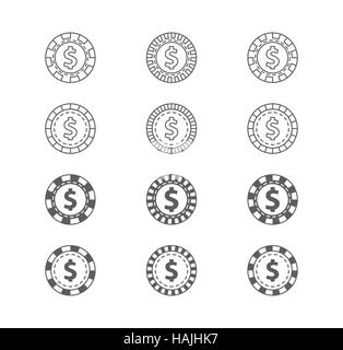 Set of casino gambling chips. Vector Illustration isolated on white background. - Stock Photo
