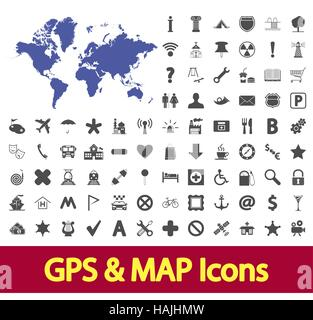 Navigation map icons set. Vector illustration. - Stock Photo