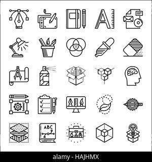 Graphic design thin line icons set, vector illustration - Stock Photo