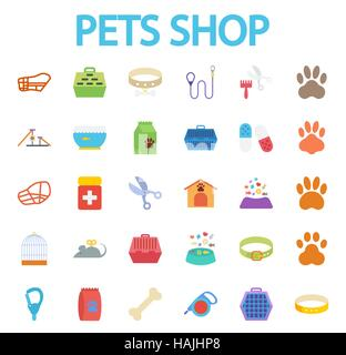 Pets shop icons set. Flat vector related icon set for web and mobile applications. It can be used as - logo, pictogram, - Stock Photo