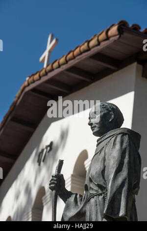 Statue of Father Junipero Serra in front of the Mission San Luis Obispo de Tolosa in San Luis Obispo, California, - Stock Photo