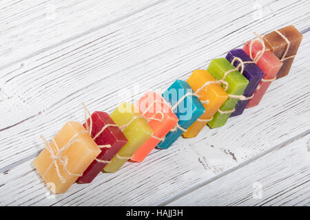 colorful natural herbal soaps - Stock Photo