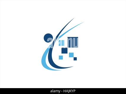 abstract people education logo, computing data illustration symbol icon vector design - Stock Photo
