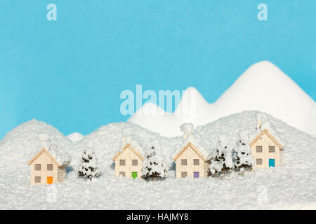 Model Houses in Artificial Snow - Stock Photo