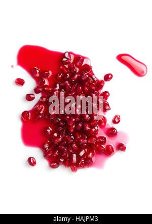 Pomegranates seeds on white background - Stock Photo